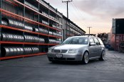 Silver VW Jetta Wagon Rolling on Polished Rotiform Wheels