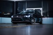 Revised Face of Black VW Passat with Chrome Billet Grille