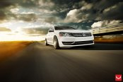 Breathtaking White VW Passat With Air suspension and Negative Camber