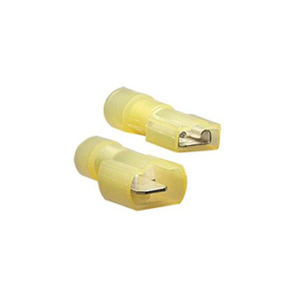 "Install Bay® - 12/10 Gauge 0.250"" Yellow Male/Female Nylon Fully Insulated Quick Disconnect Connectors (24 Per Pack)"