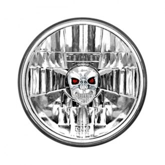 "IPCW® - 5 3/4"" Round Chrome Euro Headlight with Skull"