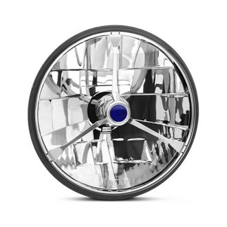 "IPCW® - 7"" Round Chrome Diamond Cut Euro Headlight with Tri-Bar"