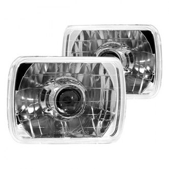 "IPCW® - 7x6"" Rectangular Chrome Projector Diamond Cut Headlights"