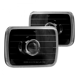"IPCW® - 7x6"" Rectangular Black Projector Diamond Cut Headlights"