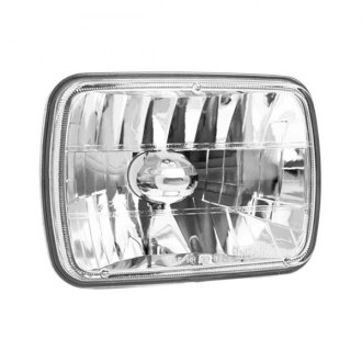 "IPCW® - 7x6"" Rectangular Chrome Diamond Cut Headlight"
