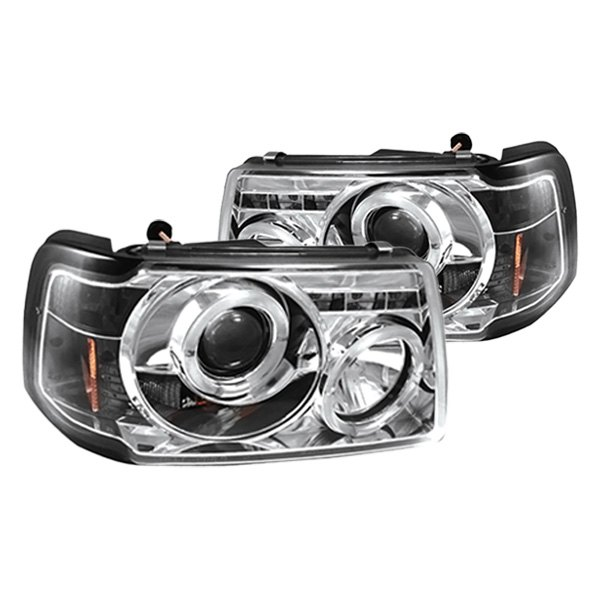 Ford Ranger Projector Headlights : Ipcw ford ranger black chrome halo projector led