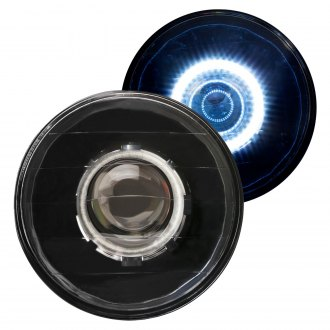 "IPCW® - 7"" Round Black Diamond Cut Halo Projector Headlights"