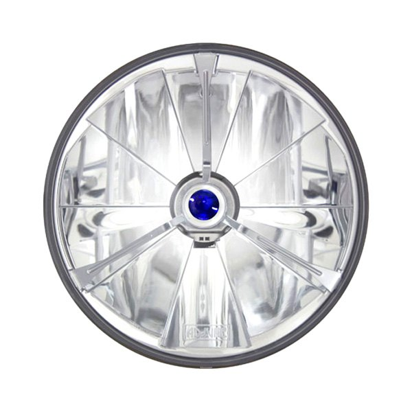 "IPCW® - 7"" Round Chrome Pie Cut Euro Headlight with Tri-Bar Blue Dot"