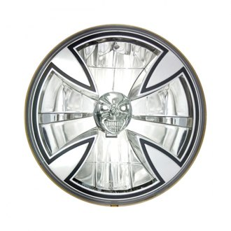 "IPCW® - 7"" Round Chrome Iron Cross Euro Headlight"