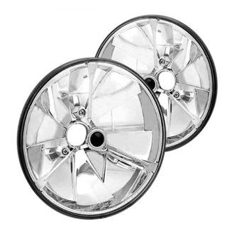 "IPCW® - 7"" Round Chrome Diamond Cut Euro Headlights with Tri-Bar"
