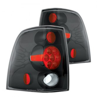 IPCW® - Black/Red Euro Tail Lights with Metal Cover on Caps