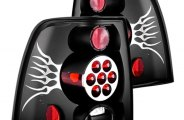 IPCW® - Bermuda Black Euro Tail Lights with Silver Flame, Metal Cover on Caps