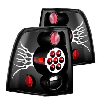 IPCW® - Black/Red Euro Tail Lights with Silver Flame, Metal Cover on Caps