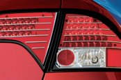 IPCW® - Chrome/Red LED Tail Lights with Red Caps