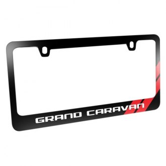 iPickimage® - Glossy Black License Plate Frame with Grand Caravan Logo and Red Stripe