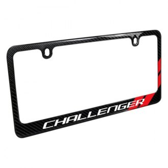 iPickimage® - Glossy Black License Plate Frame with Challenger Logo and Red Stripe