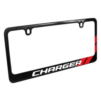 iPickimage® - Glossy Black License Plate Frame with Charger Logo and Red Stripe