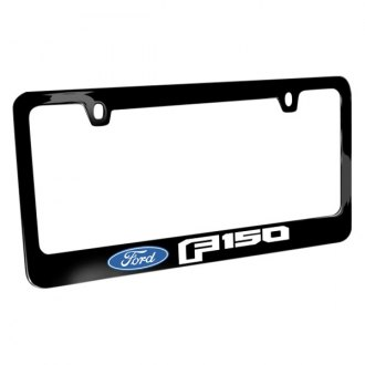 iPickimage® - Glossy Black License Plate Frame with F-150 Style Logo and Ford Emblem