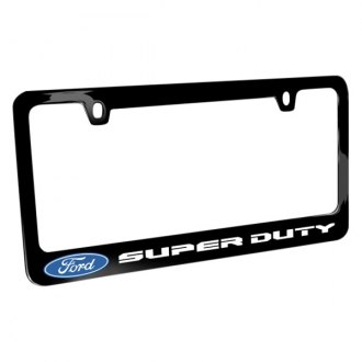 iPickimage® - Glossy Black License Plate Frame with Super Duty Style Logo and Ford Emblem