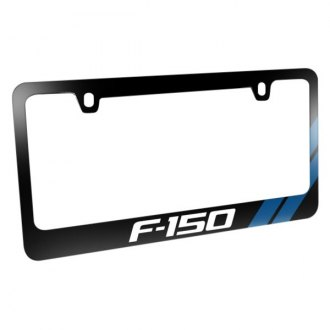iPickimage® - Glossy Black License Plate Frame with F-150 Logo and Blue Sports Stripe