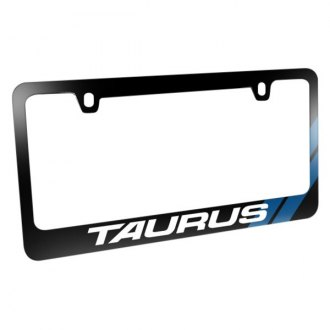 iPickimage® - Glossy Black License Plate Frame with Taurus Logo and Blue Sports Stripe