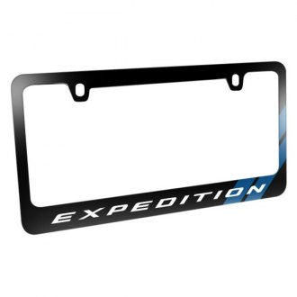 iPickimage® - Glossy Black License Plate Frame with Expedition Logo and Blue Sports Stripe