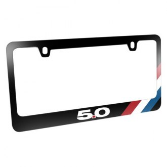 iPickimage® - Glossy Black License Plate Frame with Mustang GT 5.0 Logo and Tri-Bar Sports Stripe
