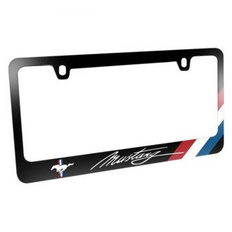 iPickimage® - Glossy Black License Plate Frame with Script Mustang Logo and Tri-Bar Sports Stripe