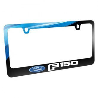 iPickimage® - Graphic Glossy Black License Plate Frame with F-150 Style Logo and Ford Emblem