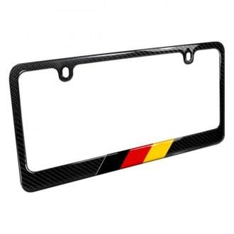 iPickimage® - Glossy Black License Plate Frame with German Flag in Sports Stripe