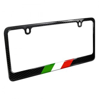 iPickimage® - Glossy Black License Plate Frame with Italy Flag in Sports Stripe