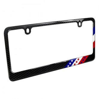 iPickimage® - Glossy Black License Plate Frame with USA American Flag in Sports Stripe