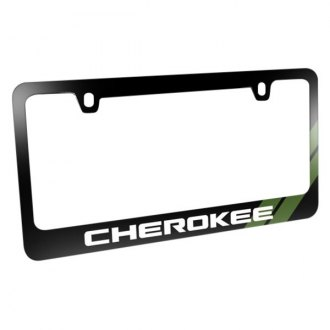 iPickimage® - Glossy Black License Plate Frame with Cherokee Logo and Green Stripe