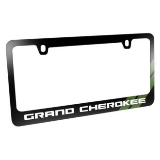 iPickimage® - Glossy Black License Plate Frame with Grand Cherokee Logo and Green Stripe