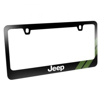iPickimage® - Glossy Black License Plate Frame with Jeep Logo and Green Stripe