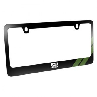 iPickimage® - Glossy Black License Plate Frame with Jeep Grille Logo and Green Stripe