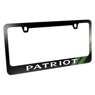 iPickimage® - Glossy Black License Plate Frame with Patriot Logo and Green Stripe