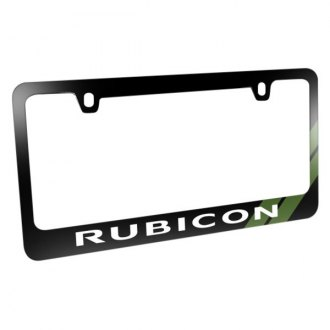 iPickimage® - Glossy Black License Plate Frame with Rubicon Logo and Green Stripe
