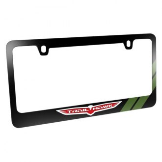 iPickimage® - Glossy Black License Plate Frame with Trailhawk Logo and Green Stripe