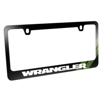 iPickimage® - Glossy Black License Plate Frame with Wrangler Logo and Green Stripe