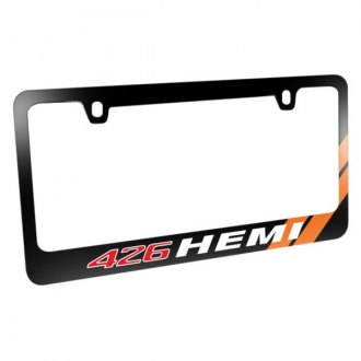 iPickimage® - Glossy Black License Plate Frame with 426 HEMI Logo and Orange Stripe