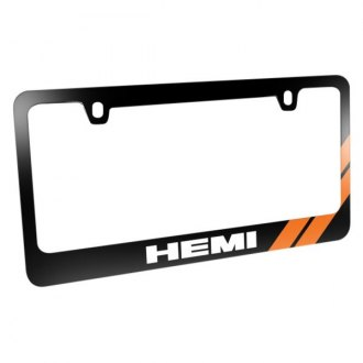 iPickimage® - Glossy Black License Plate Frame with White HEMI Logo and Orange Sport Stripe