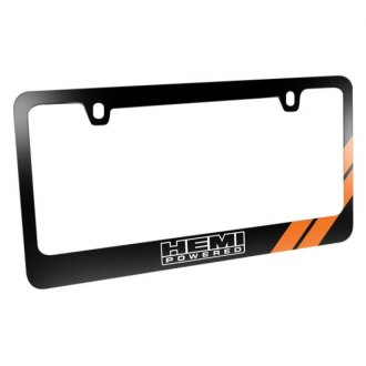 iPickimage® - Glossy Black License Plate Frame with HEMI Powered Logo and Orange Stripe