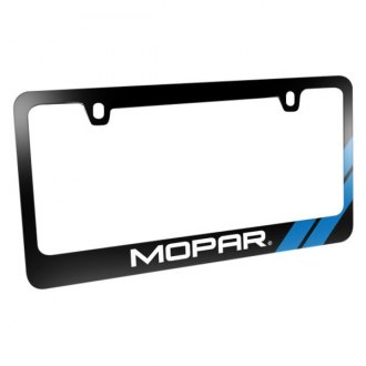 iPickimage® - Glossy Black License Plate Frame with Mopar Logo and Blue Stripe