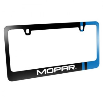 iPickimage® - Glossy Black License Plate Frame with Mopar Logo and Blue Side Stripe