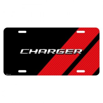 iPickimage® - Color Graphic Black License Plate with Charger Logo with Red Stripe