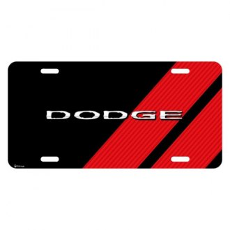 iPickimage® - Color Graphic Black License Plate with Dodge Logo with Red Stripe