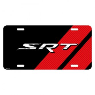 iPickimage® - Color Graphic Black License Plate with SRT Logo with Red Stripe