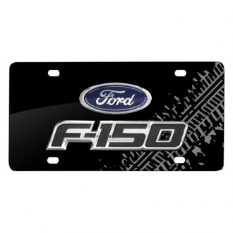 iPickimage® - Tire Mark Black License Plate with 3D F-150 Logo and Ford Emblem