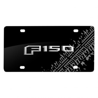 iPickimage® - Tire Mark Black License Plate with 3D F-150 Style Logo